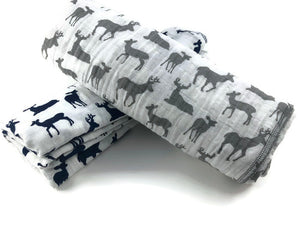 Deer Grey Muslin Swaddle Blanket - Modern Crib Bedding
