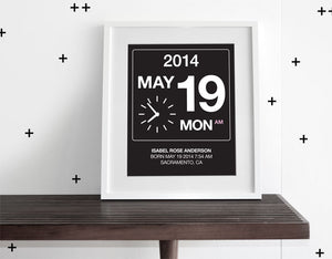BIRTHDATE WALL ART - PINK ACCENT - Modern Crib Bedding