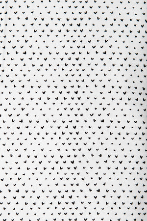 Hearts Fitted Crib Sheet Black on White Cotton Percale - Modern Crib Bedding