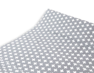 Grey Cross Changing Pad Cover - Modern Crib Bedding