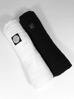 Two Pack of Swaddles | Black + White - Olli+Lime