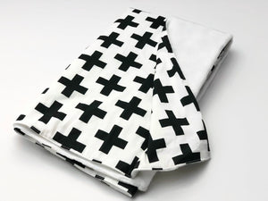 Swiss  Cross Blanket - Black Cross on White - Modern Crib Bedding