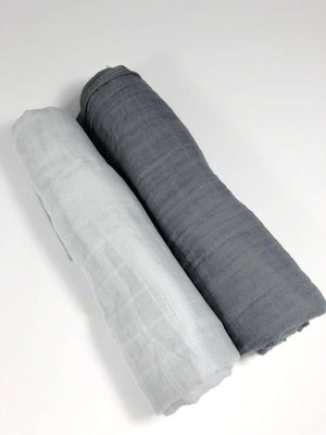 2 Pack of Swaddles | Charcoal + Light Gray - Olli+Lime