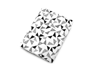 Multi Triangle Fitted Crib Sheet Black and White