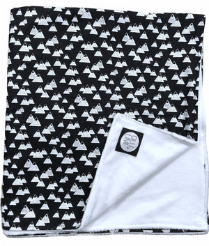 Mountain Baby Blanket black and white