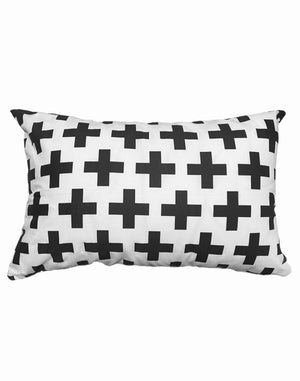 Swiss Cross Black on white Accent Pillow - Insert included