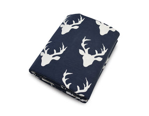Deer Fitted Crib Sheet Navy blue Cotton Percale - Modern Crib Bedding