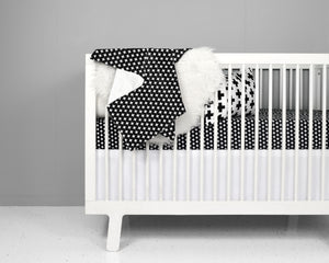 Black Cross Crib Bedding Set - Olli+Lime