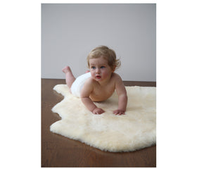 Long Wool Sheepskin Baby Rug - Modern Crib Bedding