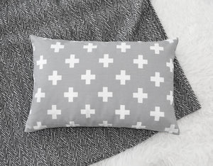 Grey Cross Accent Pillow - Insert Included - Modern Crib Bedding