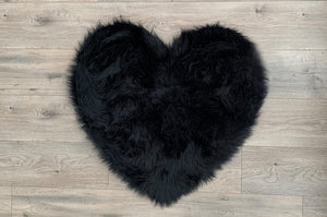 Heart in black Area Rug  - Faux Sheepskin