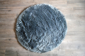 Grey Round Area Rug  - Faux Sheepskin