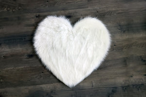 Heart in white Area Rug  - Faux Sheepskin