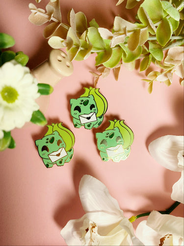 Messenger Bulbasaur enamel pin