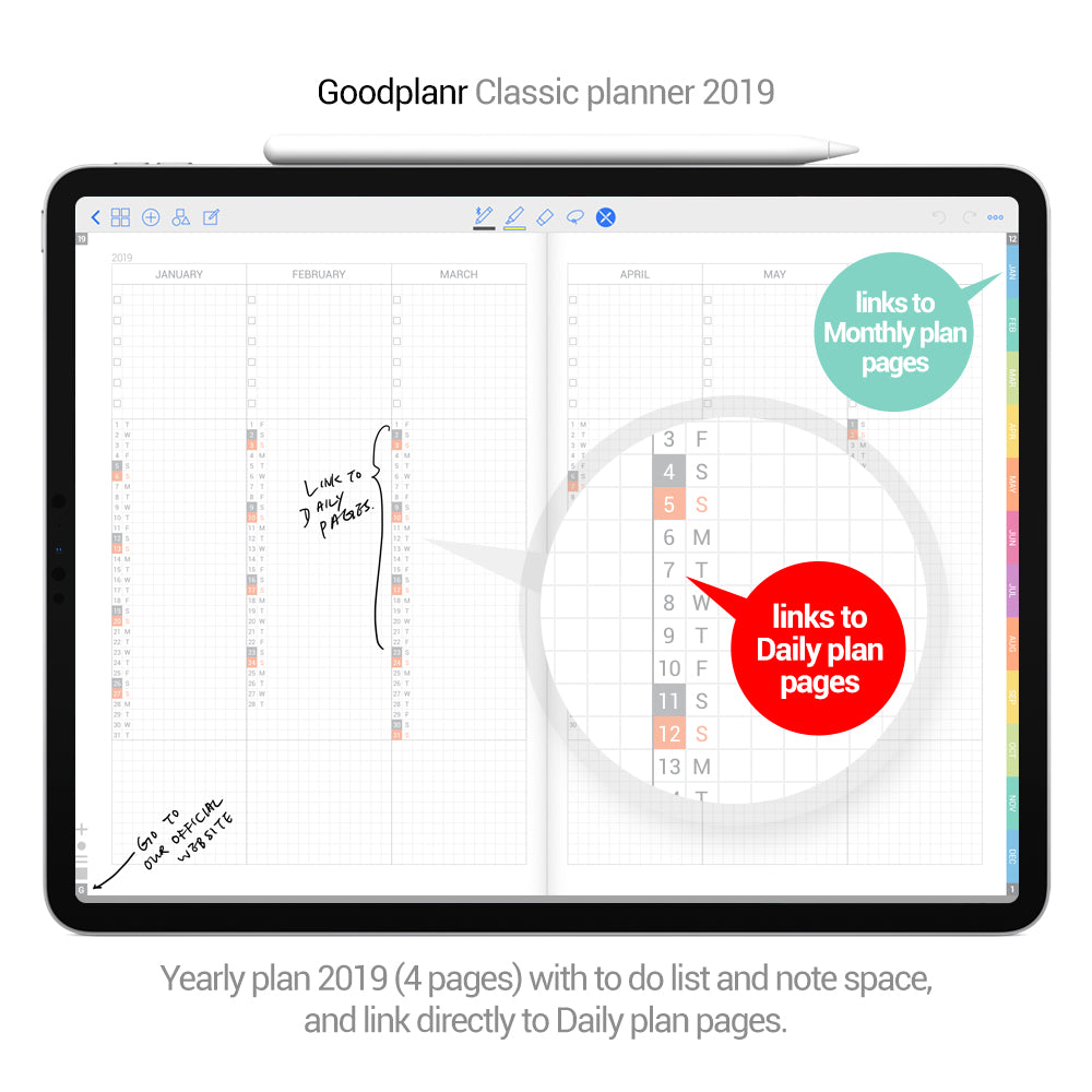 Classic Planner 2019 - pink cover - Goodplanr