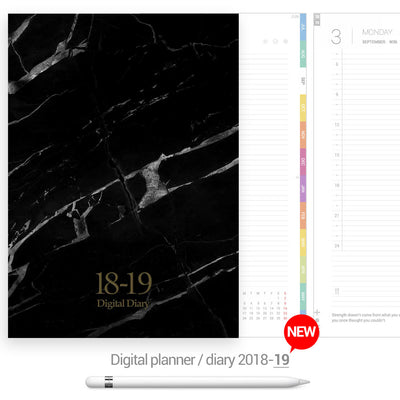 Black marble cover Digital Planner - Goodplanr