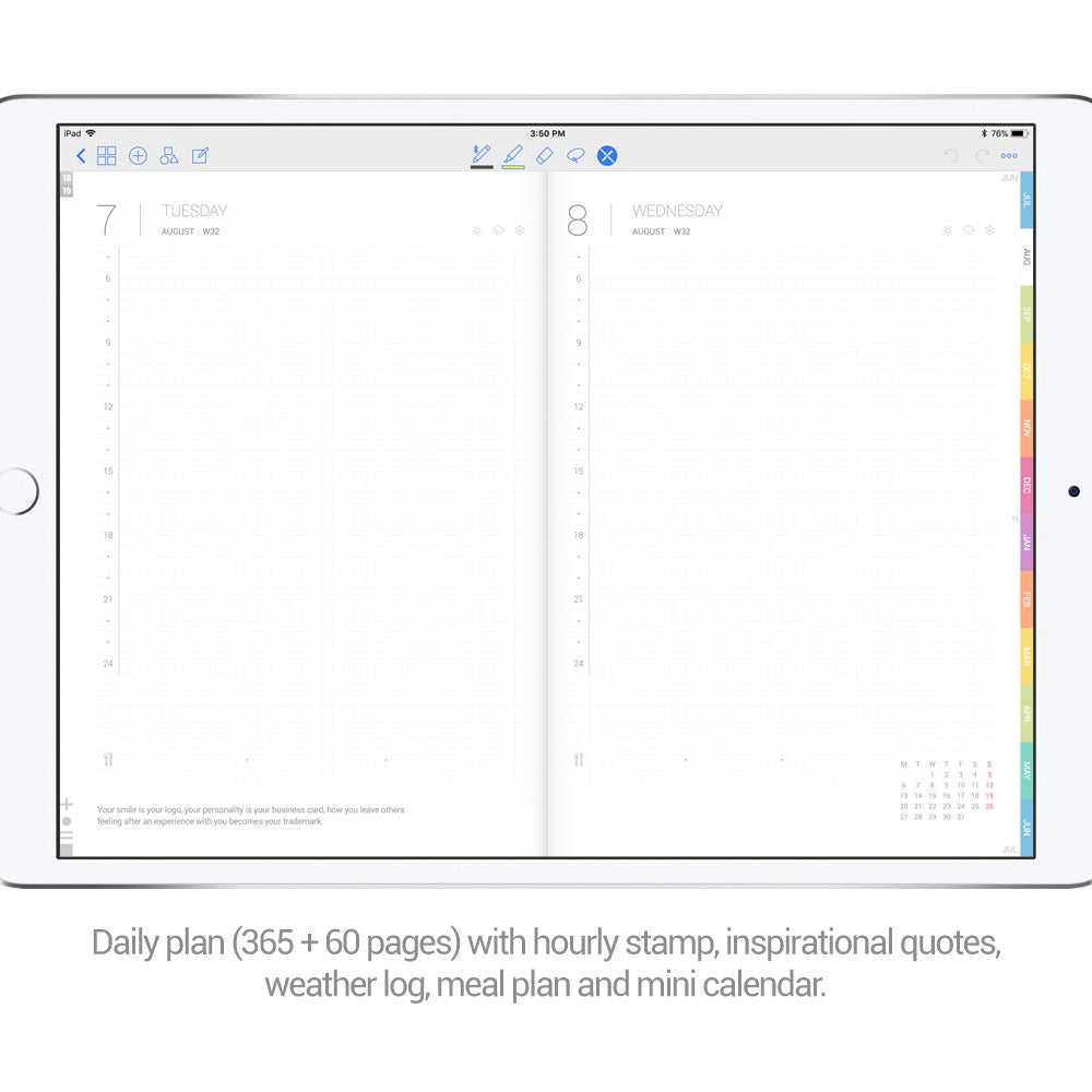 White marble cover Digital Planner - Goodplanr