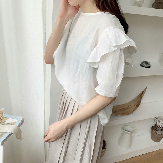 Back open ribbon Blouse