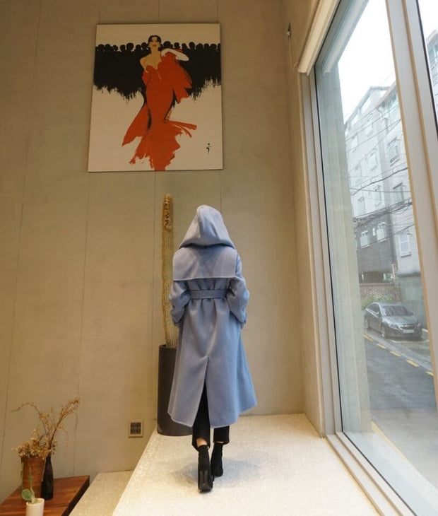 Hooded hand-made wool Coat