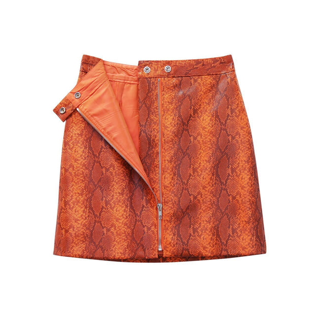 Python leather mini Skirt