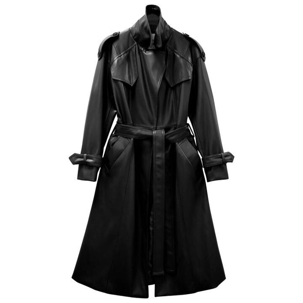 Classic leather trench coat
