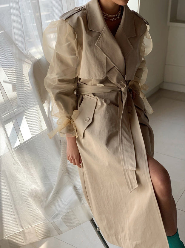 Unique puff-sleeve trench Coat