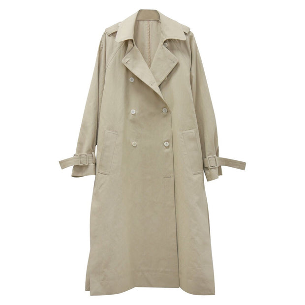 Linen oversized double button trench coat