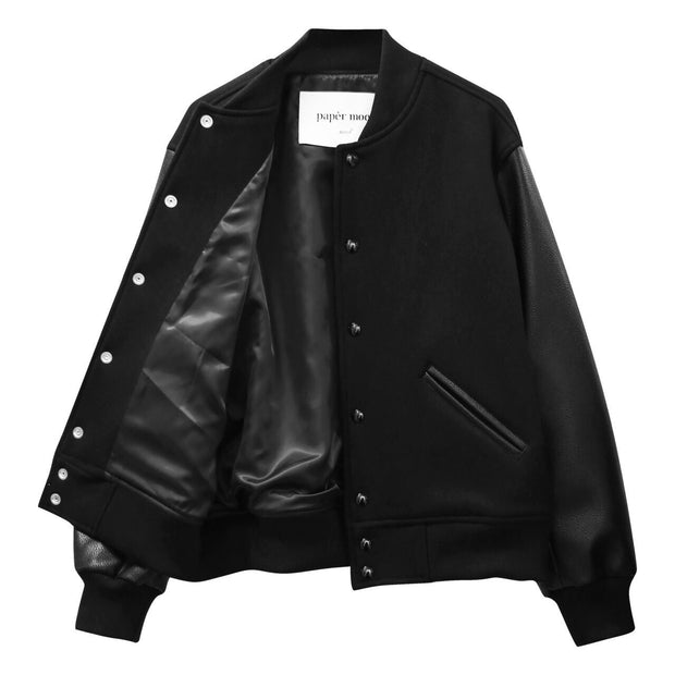 Classic leather sleeve stadium Jacket