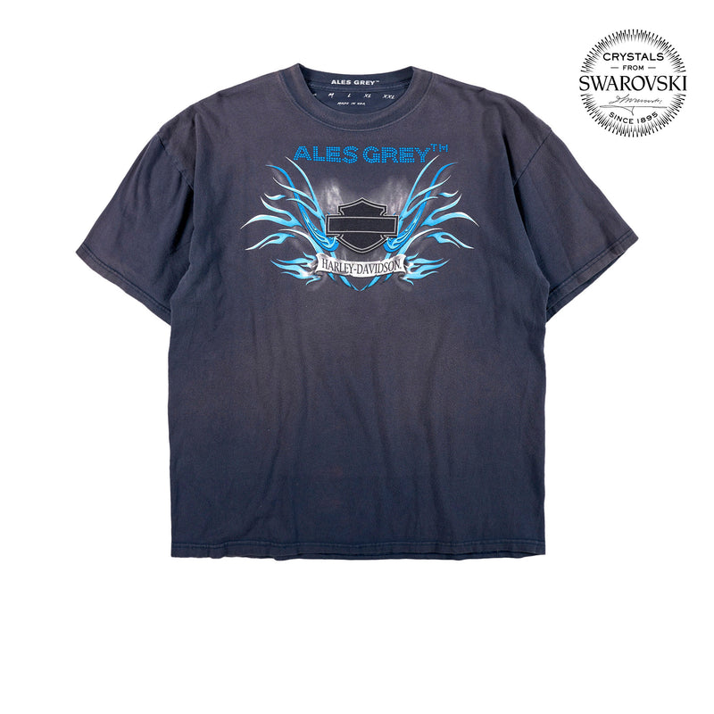 Vintage Custom Tee with Crystals from Swarovski® - BLUE FLAMES LOGO