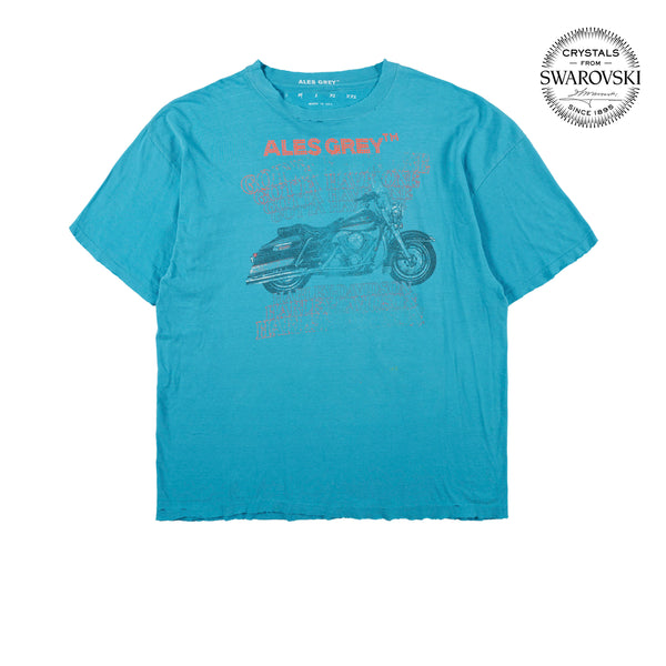 Vintage Custom Tee with Crystals from Swarovski®  - BLUE BIKE