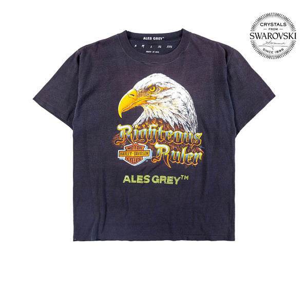 Vintage Custom Tee with Crystals from Swarovski® - BALD EAGLE