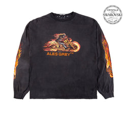 Vintage Custom Tee with Crystals from Swarovski® - FLAME BIKER