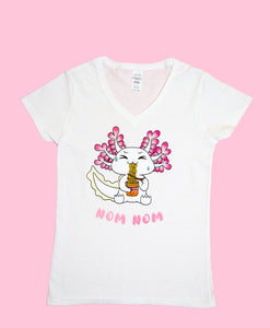 NEW! Alex the Axie Blackworm Noodles Ladies V-Neck Shirt! LIMITED STOCK!
