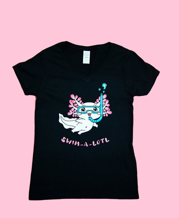 NEW! Alex the Axie Scuba-Lotl Ladies V-Neck Shirt! LIMITED STOCK!