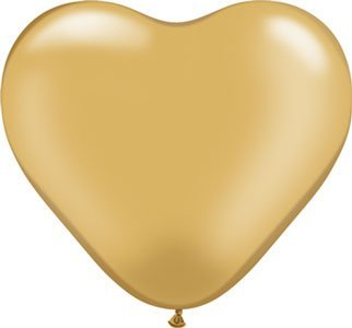 Single Source Party Supplies - Heart 6 Metallic Gold Latex Balloons Bag Of 10