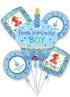 #1 1St One Boy Birthday Sweet Cupcake Polka Dot Dotted Party Balloons Set Kit