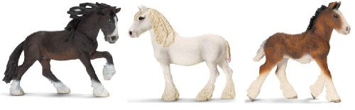 Schleich Shire Horse Set - Includes Stallion, Mare, And Foal