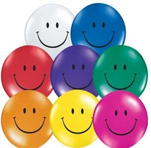 Single Source Party Supplies - 5 Smiley Face Top Print Jewel Assortment Latex Balloons Bag Of 10