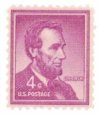 #1036 - 1954 4C Abraham Lincoln U.S. Postage Stamp Plate Block (4)