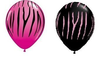 Set Of 24 Hot Pink And Black Zebra Stripe Balloons - Made In Usa By Qualatex
