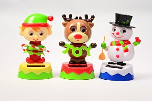 #1 Gift Christmas Friends Bobblehead Solar Dancing Elf Reindeer And Snowman Move With The Sunshine - Set Of 3
