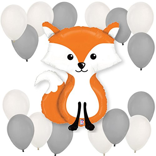 Woodland Fox Supershape Plus 11 Inch Latex Balloon Kit, Decorations, Party, Supplies, Decor, Favors, Kids