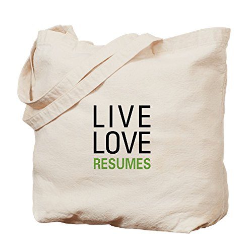Cafepress Live Love Resumes Natural Canvas Tote Bag, Cloth Shopping Bag