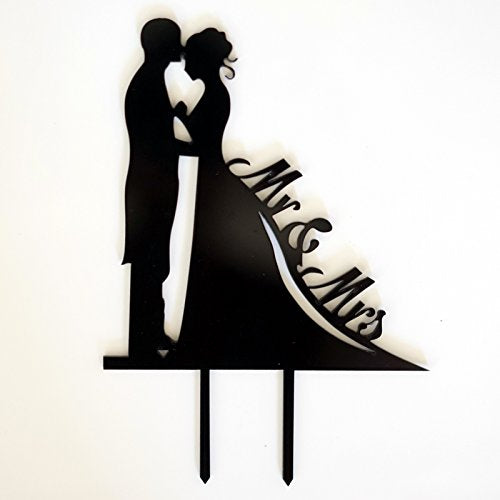 Bride And Groom Silhouette Mr. & Mrs. Acrylic Cake Topper
