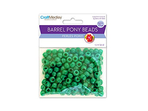 Pony Beads, Standard, 9Mm, Kelly Green, 175-Piece