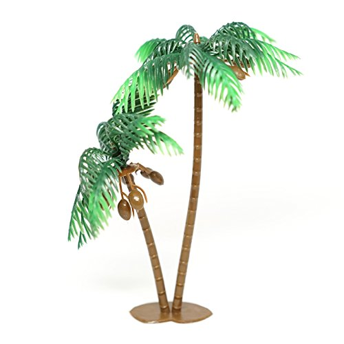 Large Palm Tree With Coconuts Cake Topper (4 Count) - 3 Inch Tall