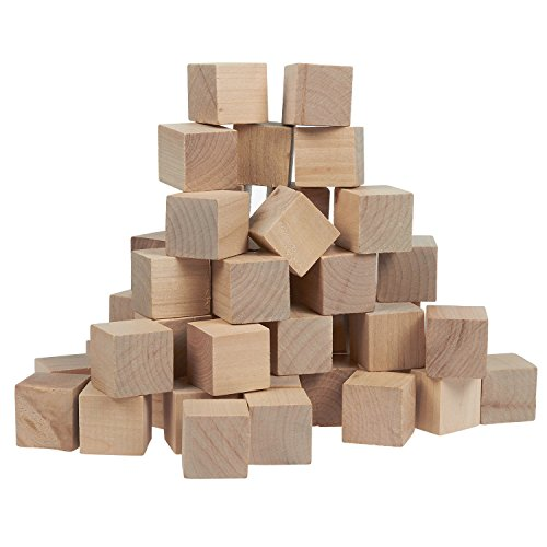 Small Wooden Craft Cubes - Unfinished Natural Wood / Mini Wooden Art Craft Stacking Cubes Blocks - -1 Inch, 2.54 Centimeter