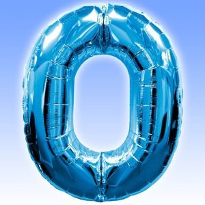 Blue Foil Number Balloon 0 Zero - 34