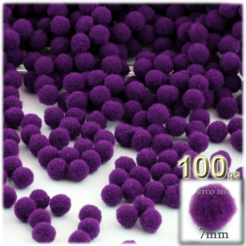 The Crafts Outlet 100-Piece Multi Purpose Pom Poms, Acrylic, 7Mm/0.28-Inch, Round, Purple