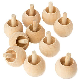 Package Of 10 Unfinished Wood Spinning Tops From Factory Direct Craft - Natural Toys Made In Usa